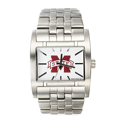 Watches College Bulldogs State Mississippi (Rockwell NCAA Mississippi State Bulldogs Men's Apostle Watch, Adjustable, Silver)