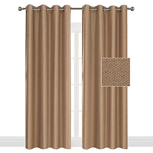 Flamingo P Room Darkening Burlap Home Decorative Curtains Thermal Insulated Textured Linen Ultra Sleep Curtains Traditional Style Antique Metal Grommet, Brown Beige, 52 by 108 inch (Set of 2 Panels) by Flamingo P