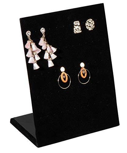 Earring Holder - Velvet L-Shape Earring Display Stand, Organizer, Rack, Board, for Jewelry Studs Accessories Storage, Show, Retail, Shop, Home, Counter Top, 60 Holes, Black, 9.9 x 7.9 x 4 Inches ()