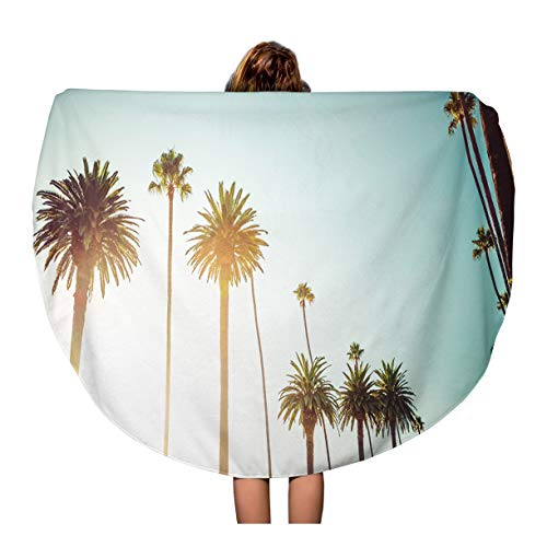Semtomn 60 Inches Round Beach Towel Blanket Rodeo Drive in Beverly Hills Palm Trees Bordering Hollywood Travel Circle Circular Towels Mat Tapestry Beach ()