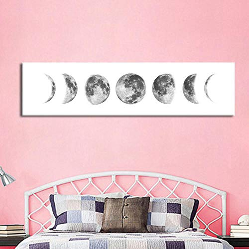 Wadyx Simple Banner Moon Variation Background Mural Waterproof Canvas Painting 30X120 cm No Frame(A)