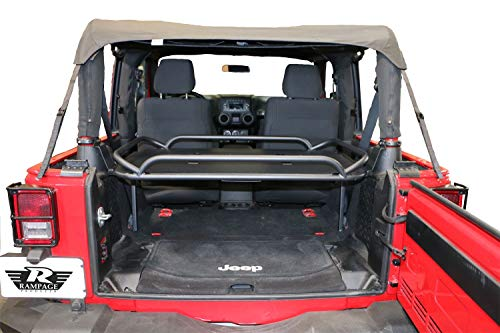 Rampage Products 86624 Rear Storage Rack, Interior Mount, Fold-Up w/Rear Seat Removed, for 2007-2018 Jeep Wrangler JK 2-Door, Black Powder Coat Finish