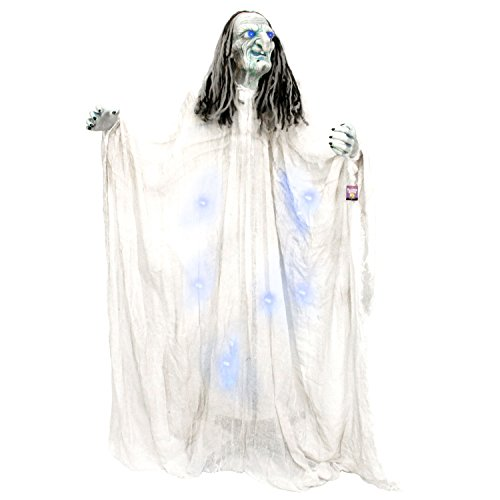 Halloween Haunters 5 foot Standing Blue Witch with Blue Light-Up Eyes and Body Prop Decoration - Scary Evil Wicked Face - Battery Operated