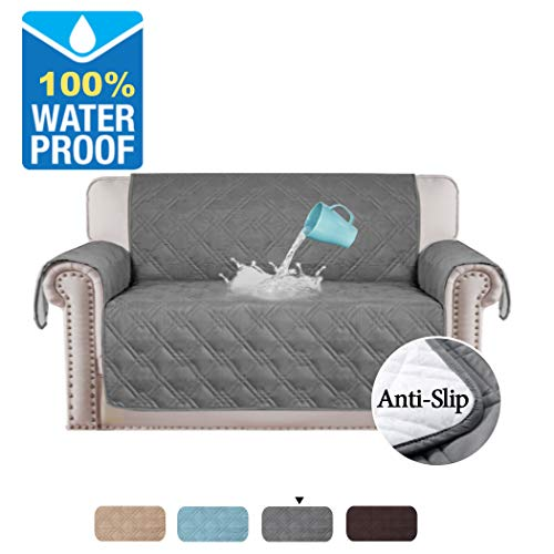 Full Waterproof Quilted Furniture Cover Prevent Stains For 2 Seats Sofa Non Slip Keep In Space Sitting Width Up To 46 Love Seat Gray