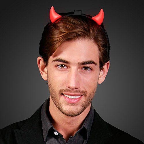 Red Light Up Devil Horns Headband ()