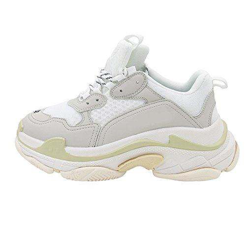 casual virtudes gruesa primavera de Zapatos cómodos zapatos gris moda de 36 de zapatos mujer redonda cabeza viejas blanco calle 74xqE1