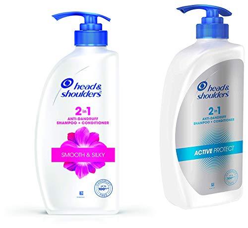 Head & Shoulders 2-in-1 Smooth and Silky Anti Dandruff Shampoo + Conditioner, 650ml/675ml & Head & Shoulders , Anti Dandruff Shampoo + Conditioner, Active Protect, 650 ML