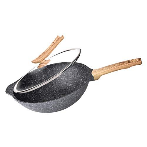 (Jody marshkjonhkjkj Kitchen Wok Medical Stone Stir Fry Pan with Wood Handles/Glass Cover 12 Inch)
