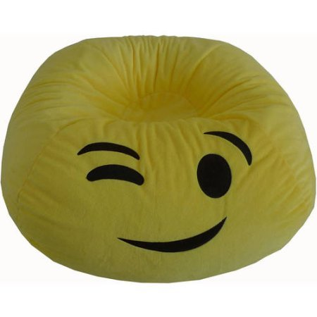 Versatile, Upbeat Durable Easy Care Emoji Bean Bag GO EXPRESS YOURSELF (WINK)