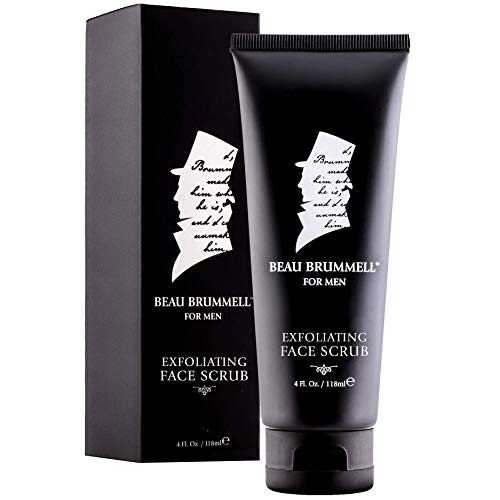 Mens Facial Scrub by Beau Brummell | Exfoliating Activated Charcoal | Organic Moisturizing Face Cleanser with Natural Essential Oils, Lavender Oils, Peppermint Infusion | Deep Condition & Cleanse