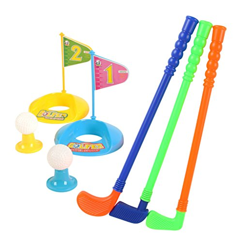 Plastic Golfer Toy Toddler Golf Game Toy Set for Kids Children 9 Piece Set
