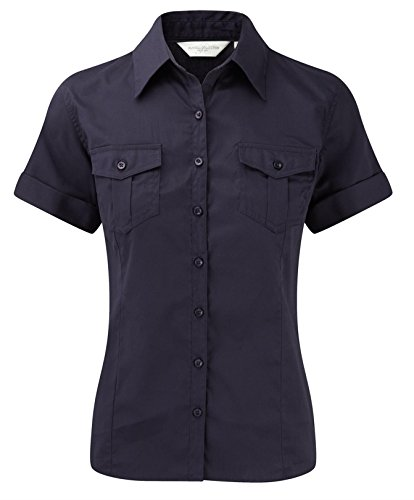 Russell Collection Ladies Short Sleeve Twill Roll Shirt S/10 French Navy