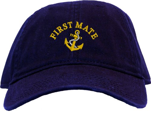 First Mate with Ships Anchor Embroidered Low Profile Ball Cap - Navy Blue (Anchor Ball Cap)