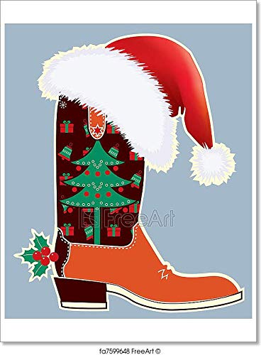 (Barewalls Cowboy Christmas Card with Boot and Santa's Red Hat Paper Print Wall Art (40in. x 30in.))