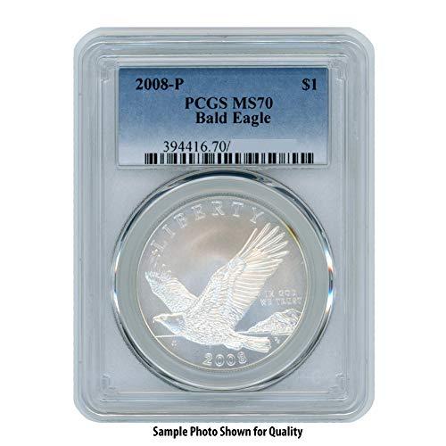 2008 P – Silver Commemorative Bald Eagle $1 MS70 PCGS