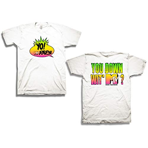 MTV Mens Classic Retro Shirt - #TBT Mens 1980's Clothing - I Want My T-Shirt (White Yo Raps, Small)