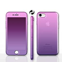 """iPhone 6/6s (4.7"""") 360 Degree Full Body Silicone Phone Case / Front and Back Protection for Apple iPhone 6S 6 (4.7"""") / Screen Protector & Cloth / iCHOOSE / Pink to Purple"""