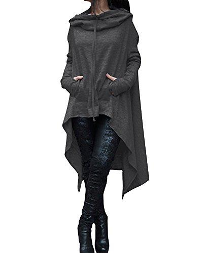 Women's Kangaroo Pockets Plus Size Pullover Irregular Hem Long Drawstring Hoodie Top Dress Dark Gray ()