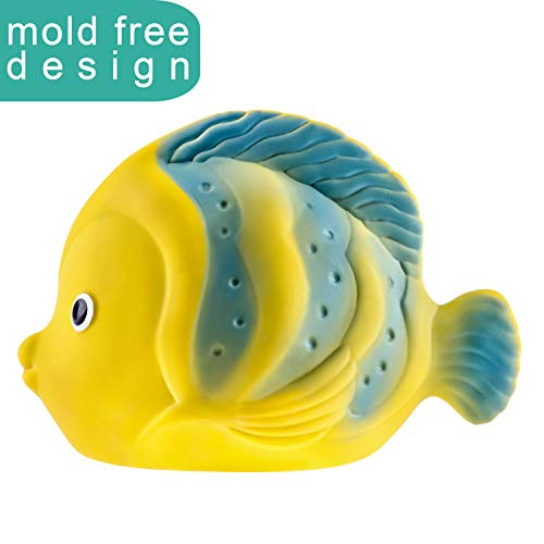 100% Pure Natural Rubber - La the Butterfly Fish Baby Bath Toy by CaaOcho - Hermetically Sealed, BPA, PVC, phthalates Free