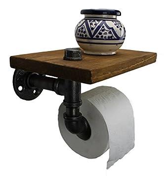 Irwost , Support papier toilette déco design industriel retro \u0026 steampunk  avec étagère en tuyau