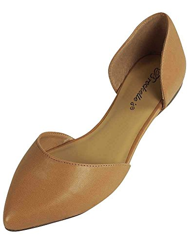Breckelles - Womens Faux Leather D'Orsay Pointed Toe Flats, Natural