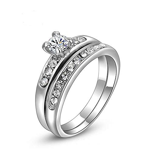 talever 925 Sterling Silver wedding ringPlatedHalo Set White Diamond Ring Solitaire Cubic Zirconia Promise Engagement Ring Set Size5-9