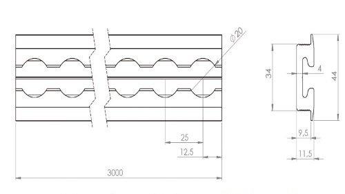 20 mm Lochdurchmesser Alu-Airlineschiene 2,0 m 1 x Airlineschiene zum Einlassen
