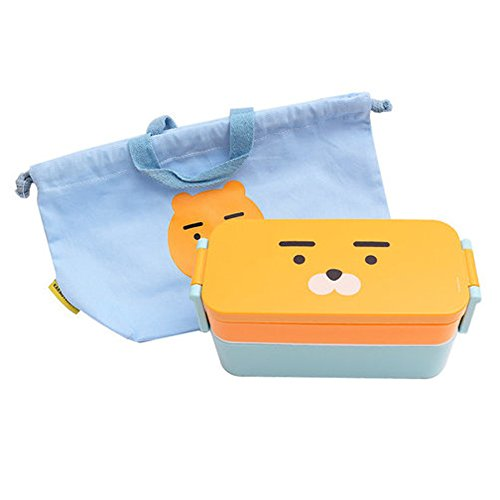 Kakao Friends - Slim Pouch Baby Little Kid and Toddler Mealtime Bento Lunch Box Kit (RYAN)