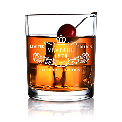 1978 40th Birthday Gift for Men and Women Whiskey Glass for Anniversary Gifts - Idea for Him Her Husband Wife Dad Mom Party Favors -