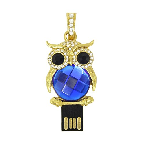 - 32GB Jewelry Crystal Animal Owl Shape Character USB2.0 Flash Drive Novelty Cute Pendant Thumb Drives Memory Stick Pen Drive Disk with Keychain Design Blue
