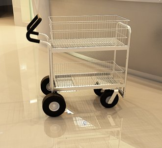 Charnstrom Medium Wire Basket Mail Cart with Easy Push Handle and Caster Options (B262E)