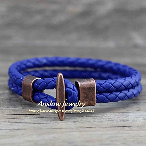 LUCILAS ctr Bracelet Leather & mom Leather Bracelet Fashion Jewelry Punk Rock Antique Copper Plated pu Leather Bracelet&Bangle for Women Men Friendship Party Gift