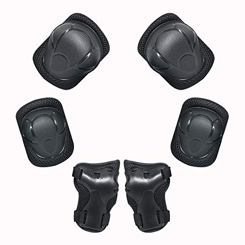 Kid Protective Gear Set, Child Elbow Pads Knee Pads Wrist Guards 6 in 1 Protective Gear Set For Multi Sports Skateboarding Inline Roller Skating Cycling Biking BMX Bicycle Scooter (Black)