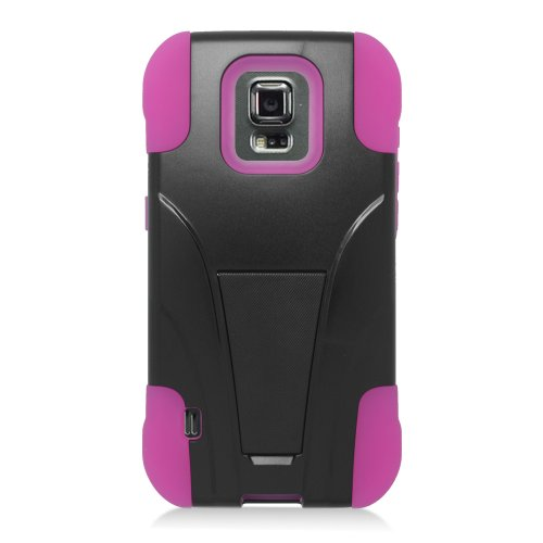 Galaxy S5 Sport Case, Eagle Cell Dual Layer [Shock Absorbing] Protection Hybrid Stand PC/Silicone Case Cover for Samsung Galaxy S5 Sport SM-G860P (Sprint), Black/Hot Pink