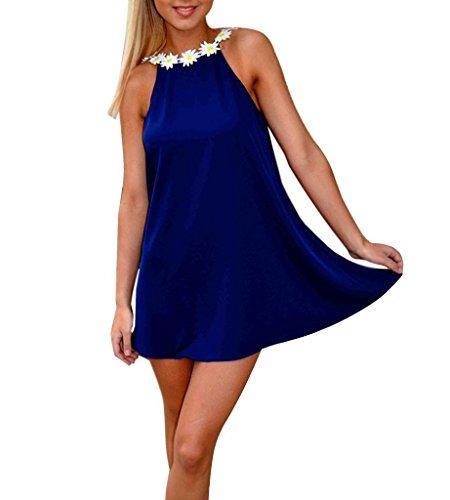 Mine tom Mujer Chicas Verano Sin Espalda Mini Vestido Floral Cuello Redondo Vestir Dulce Estilo Azul