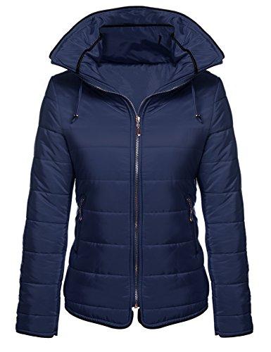 Misakia Women's Winter Coat Short Down Puffer Jacket With Hood (Navy Blue, XL)
