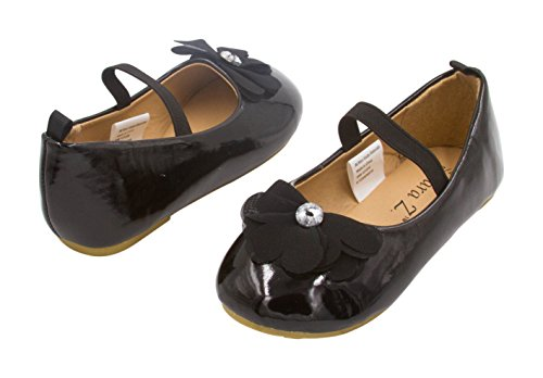Sara Z Toddler Ballet Flat Patent Slip On Adorned with Chiffon Flower with Rhinestone, Black Size 5-6