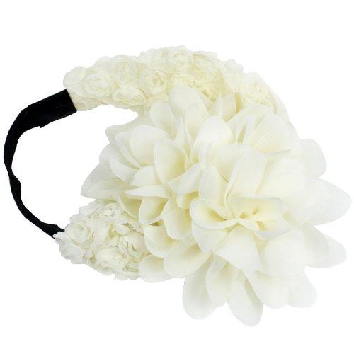 niceeshop (TM) souple Crochet Fleur large dentelle élastique tout-petits Infant Baby Girl princesse cheveux bande bandeau Accessoires-Beige