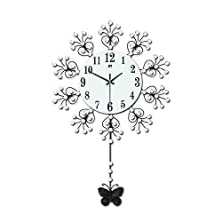 Magshion 3D Decorative Crystal Flower Iron Butterfly Swing Mute Wall Clock W/ Wall Hooks 18.3L 11.7W Swaying Tail