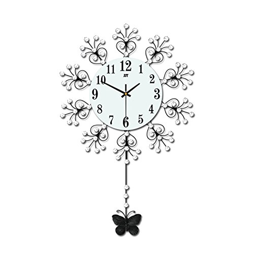 Magshion 3D Decorative Crystal Flower Iron Butterfly Swing Mute Wall Clock W/ Wall Hooks 18.3