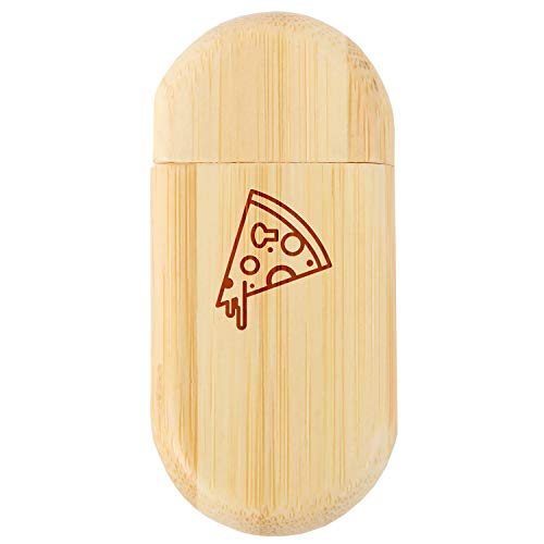 Pizza 8Gb Bamboo USB Flash Drive with Rounded Corners - Wood Flash Drive with Laser Engraving - 8Gb USB Gift for All Occasions
