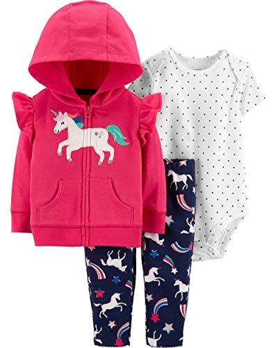 Carter's Baby Girls' 3-Piece Little Jacket Sets (Pink/Unicorn, 24 Months)