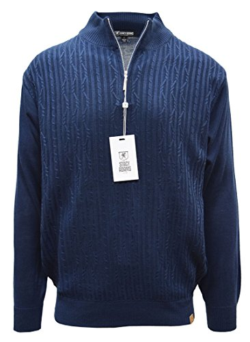 STACY ADAMS Men's Sweater, Solid Cable Knit Twist (Large, Navy)
