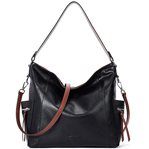 BOSTANTEN Genuine Leather Hobo Handbags Designer Shoulder Tote Purses Crossbody Large Bag for Women Black ()