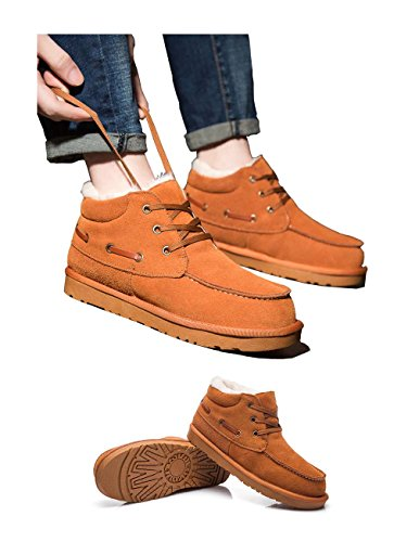 Suede High Camel Boots Shaft Lined Short Shoes Snow faux fur Ankle Warm lined Men's Fur UPSUN Genuine SIqWcO44E