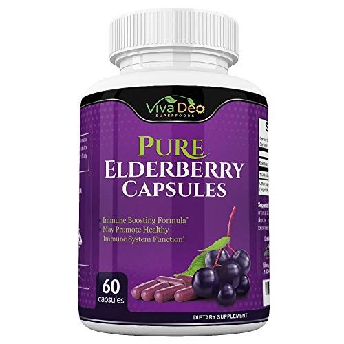 VIVA DEO Pure Elderberry Capsules - Made with Organic Elderberries - 60 Black Elderberry Capsules for Immunity Support - 1150mg Elderberry Fruit Extract Per Serving