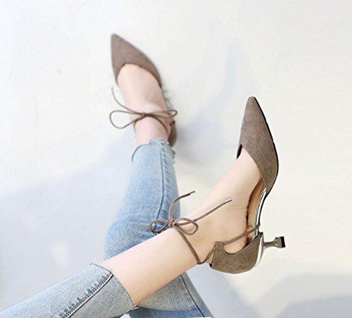 Ajunr Moda/elegante/Transpirable/Sandalias Con una hebilla Zapatos de punta Hueca Toda correspondencia 6cm sexy zapatos de tacón alto Gris ,38 35