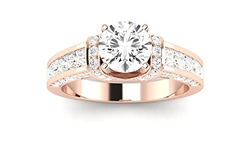 1.61 Carat 14K Rose Gold Contemporary Channel Set Princess and Pave Round Cut Round Cut Diamond Engagement Ring (F Color SI1 Clarity Center Stones)