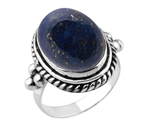 9.90ctw,Genuine Lapis 12x16mm Oval & .925 Silver Overlay Handmade Ring Made By Sterling Silver Jewellery