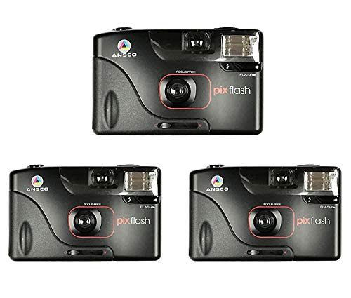 3-Pack Halina Ansco Pix Flash 35mm Film Camera Vintage Point & Shoot Focus Free